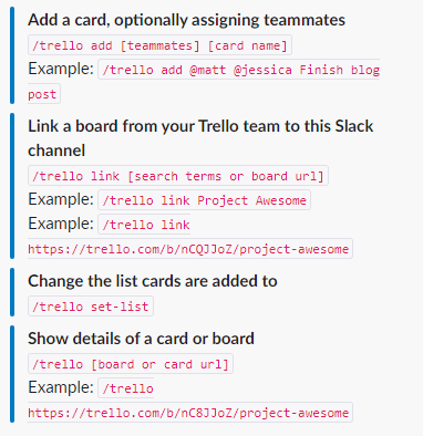 Памятка Slack по взаимодействию с Trello из чата
